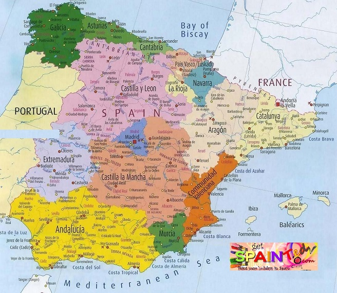 Detailed map of Spain Cities ...