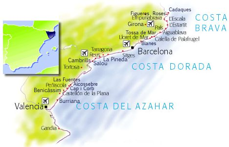 Costa Del Azahar Mapa.Costa Del Azahar Holiday Resorts