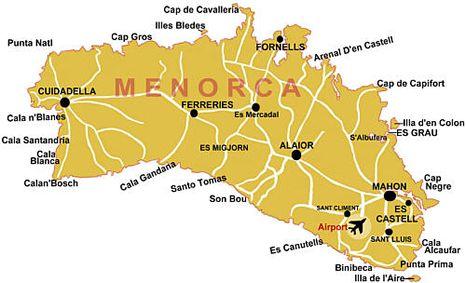 Insel Menorca Karte.Menorca Urlaub Menorca Balearen Inseln Spanien