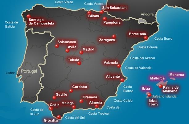 Costa De Azahar Spain Map.City Breaks To Spain Top Spain Cities Top 10 City Breaks To Spain